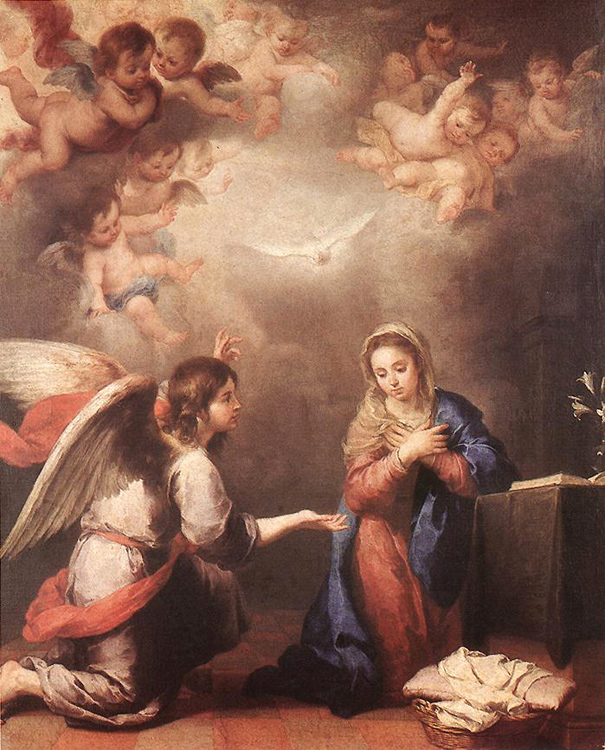 Bartolome Esteban Murillo of Seville, Spain - The Annunciation to Mary, Museo del Prado, Madrid, 1660.