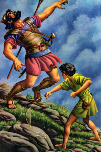 The youthful David defeats Goliath of the Philistines (First Samuel 17).