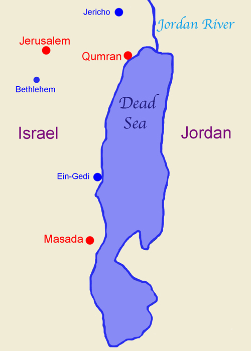 Map of Qumran and Masada by the Dead Sea.