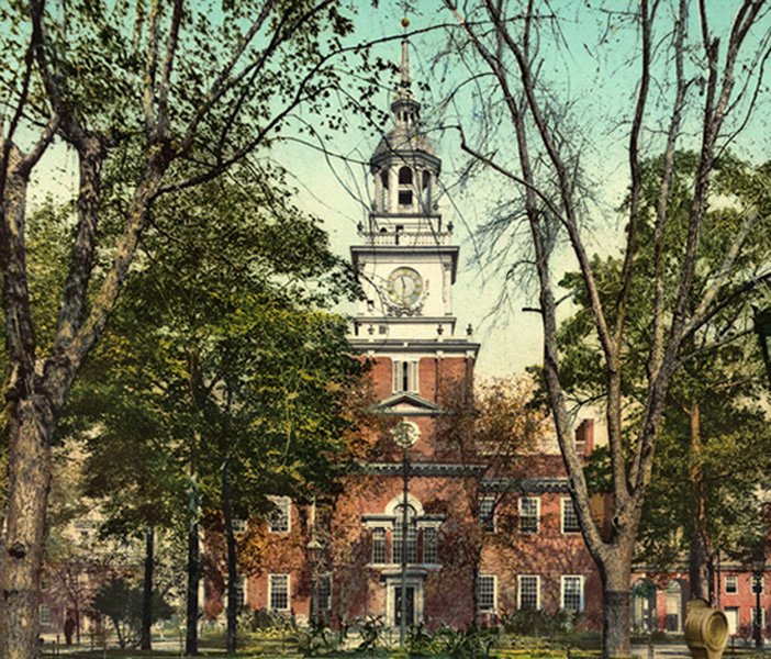 Pennsylvania State House, Philadelphia, now known as Independence Hall, where the Declaration of Independence was signed in 1776 and the Constitutional Convention met in 1787; Courtesy of the Library of Congress.