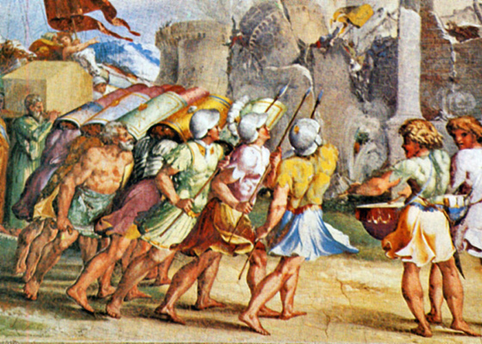 School of Raphael - Joshua and the Battle of Jericho, The Vatican, 1517.