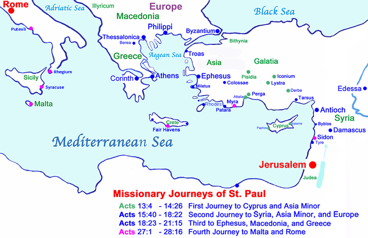 Map of Missionary Journeys of St. Paul.