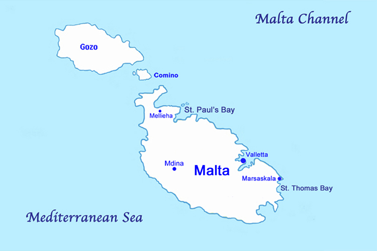 Map of Malta in the Mediterranean Sea.