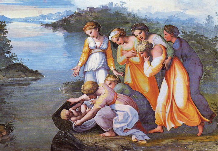Raphael - Moses found by Pharaoh's daughter along the Nile, Vatican City, 1517.