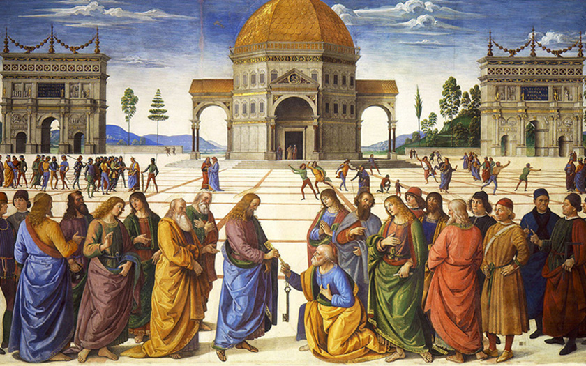Pietro Perugino - Jesus gives St. Peter the Keys to the Kingdom, Vatican City, 1482.