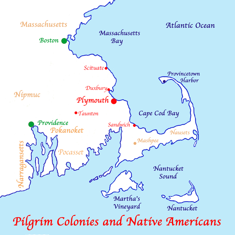 Map of Native American Tribes and Pilgrim Colonies.