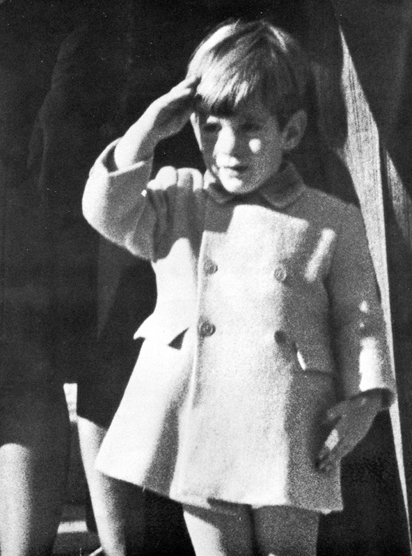 This photograph of John-John Kennedy saluting his late father, President John F. Kennedy, captured the grief of our mourning nation.  This iconic photograph was taken by Stan Stearns of Annapolis, Maryland.  At the time he was an UPI photographer at the funeral procession outside St. Matthew's Cathedral in Washington, D. C. on November 25, 1963, 3 days after the President's assassination in Dealey Plaza in Dallas, Texas.  This copyrighted photograph is published here with his permission.