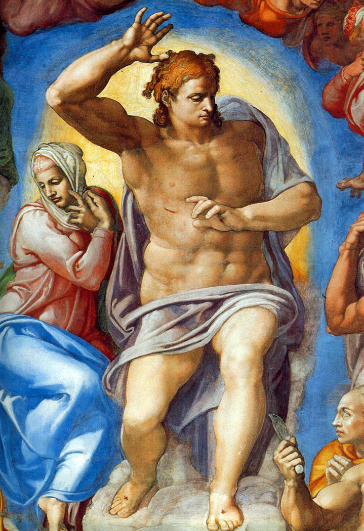 Michelangelo - Closeup of Christ the Judge and the Virgin Mary, The Last Judgement, Sistine Chapel, Vatican City, 1541.