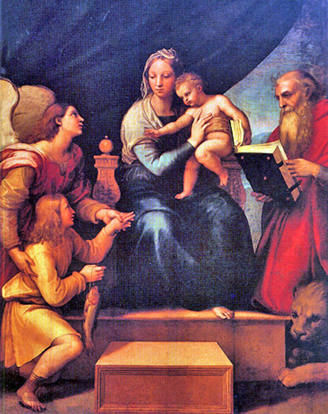 Raphael - The Angel Raphael and Tobias with the Fish Before the Madonna and Child, El Prado Museum, Madrid, 1515.