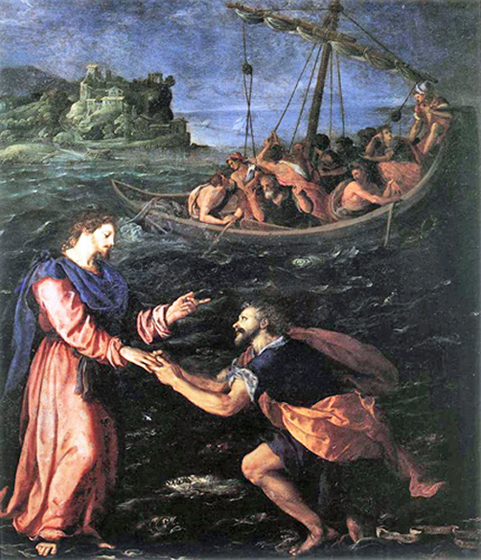 Alessandro Allori - St. Peter walking on water towards Jesus, Galleria degli Uffizi, Florence, 1590.