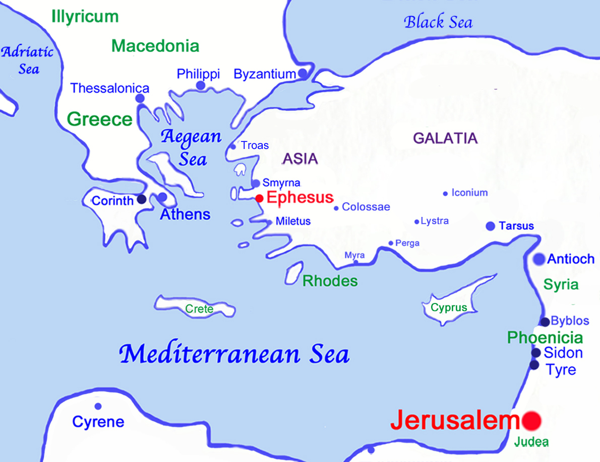 Map Of Asia Minor In Biblical Times.The Letter Of St Paul To The Ephesians