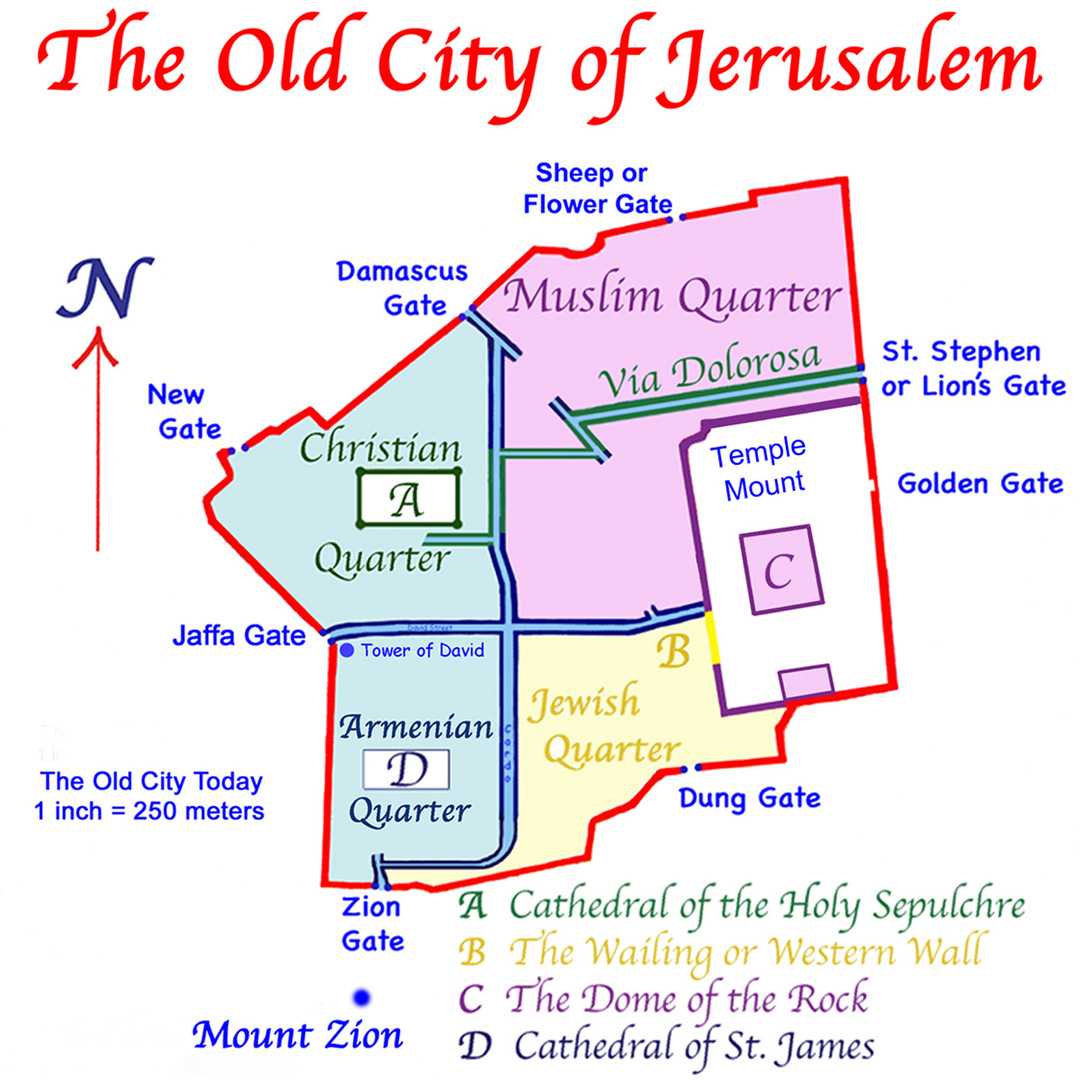 Present Map of the Old City of Jerusalem.
