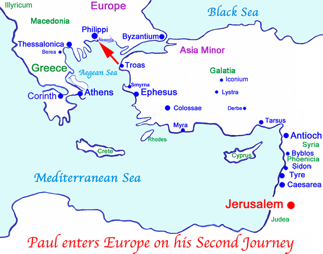 St. Paul enters Europe on his Second Missionary Journey, the first recorded introduction of Christianity into Europe.