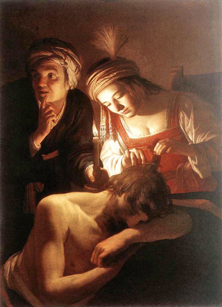 Gerrit van Honthorst of Utrecht, Holland - Delilah cutting Samson's hair, Cleveland Museum of Art, Cleveland, Ohio, 1615.