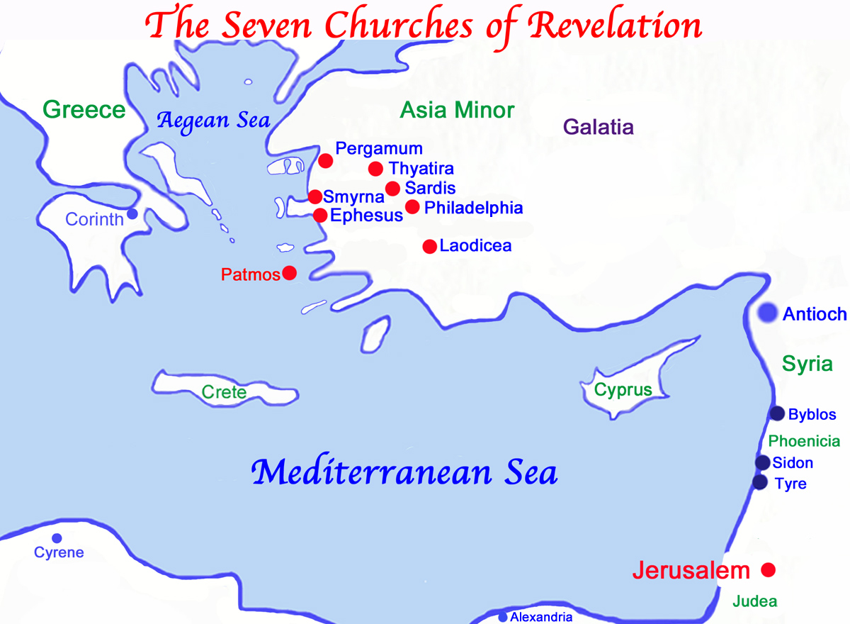 Biblical Map of the Seven Churches of Revelation and the Isle of Patmos.